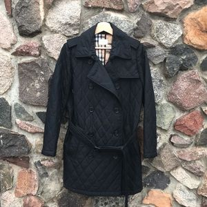Jackets & Blazers - Black Quilted Crossover Coat with Plaid Lining